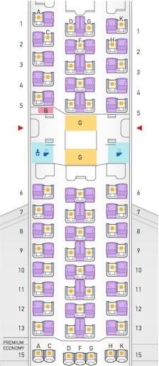 B787-8ドリームライナーのシートマップ