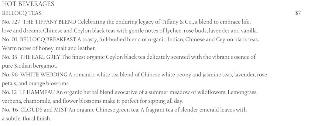 ティファニー ブルーボックスカフェの紅茶メニュー